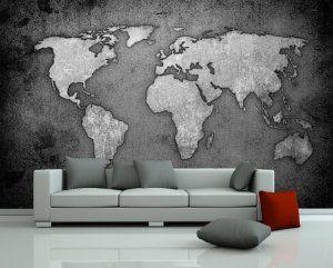 """Bilderdepot24 selbstklebende Fototapete """"Weltkarte - schwarz weiss"""" 420x270 cm - direkt vom Hersteller: Amazon.de: Küche & Haushalt"""
