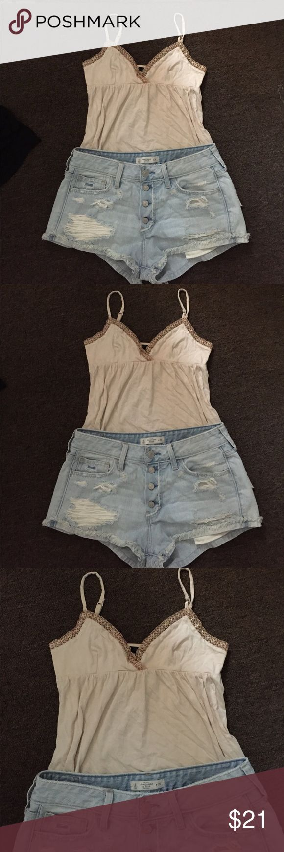 Top and shorts Cute outfit , you get both . Top is by express and distressed shorts are Abercrombie. Everything in my closet is in great condition. 👌🏻 Abercrombie & Fitch Tops Tank Tops