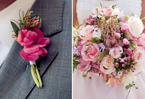 Boutonniere and bouquet in pink