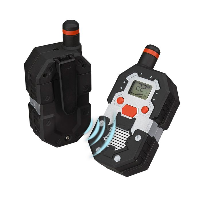 Inspire your child's inner spy with this set of two Mukikum SpyX long-range walkie talkies. The durable design holds up to rough play. With an LCD display screen, 22 channels and transmissions up to t
