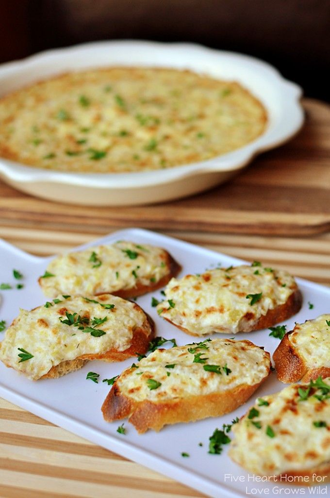 Recipe For Artichoke Bruschetta or Hot Artichoke Dip - Cheesy artichoke dip is spread on baguette slices and broiled until golden and bubbly for an appetizer that's fancy yet no-fuss.