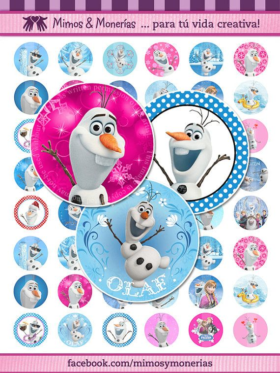 "Olaf - 1"" Bottle Cap Images - Digital Collage Sheet 8.5x11"" and 4x6 "" - Hair Bow Centers, Magnets, Stickers - INSTANT DOWNLOAD"