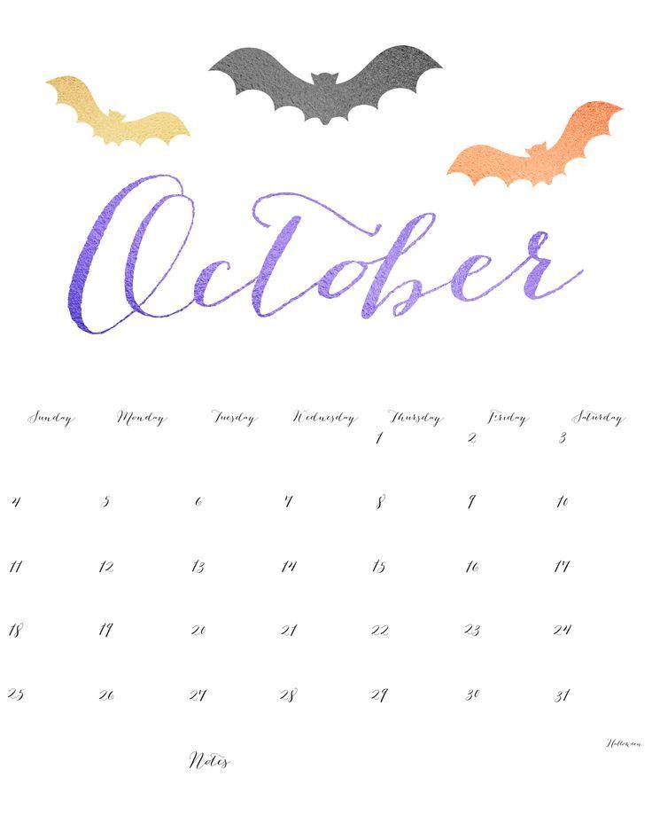 Cute October Calendar 2016 Printable