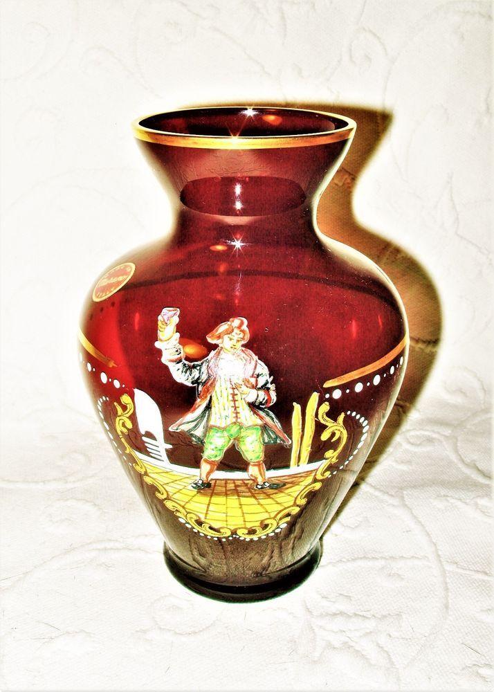 Old vintage hand painted vase