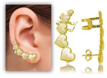 Brinco Ear Cuff folheado a ouro em forma de corações
