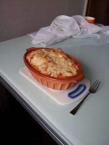 Rezept: Spaghetti mit Metaxasoße überbacken