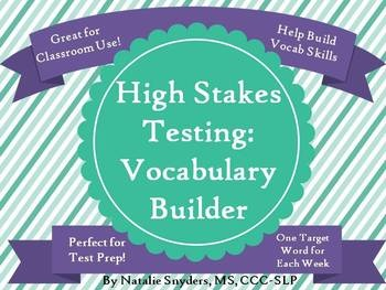 "This product is designed to teach your upper elementary and middle school students ""high stakes"" words often found on standardized tests.  Includes 40 words, definitions, and worksheets, and lasts year-round!"