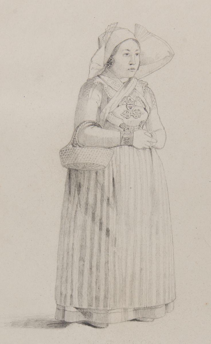 """""""Kiersti Nils Olson Från Glostorp, Oxie Härad."""" Blyertsteckning av Otto Wallgren, ca 1830-40-tal? Nordiska Museet, nr. NMA.0070131"""