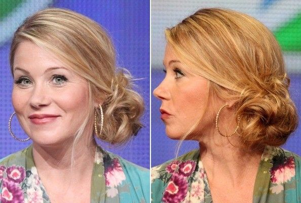 stylebistro.com recommends using Goody Spin Pins to get Christina Applegate's loose side bun.