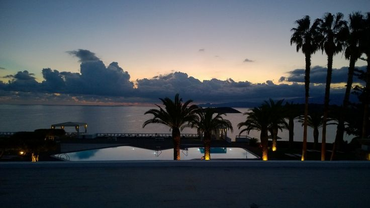 The dawn over the pool & sea