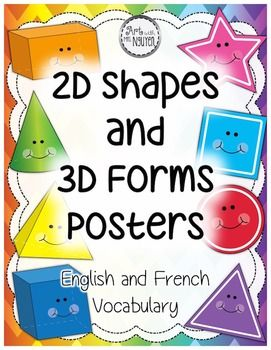 2D Shapes and 3D Forms Poster Set (24 posters)  Included in this packet are two PDF's filled with 14 2-D shape, 8 3-D form, and 2 all-shape printable posters! Posters feature a large image of the shape along with both its English and French terminology (great for teaching English-speaking students French or teaching French-speaking students English)! ☺