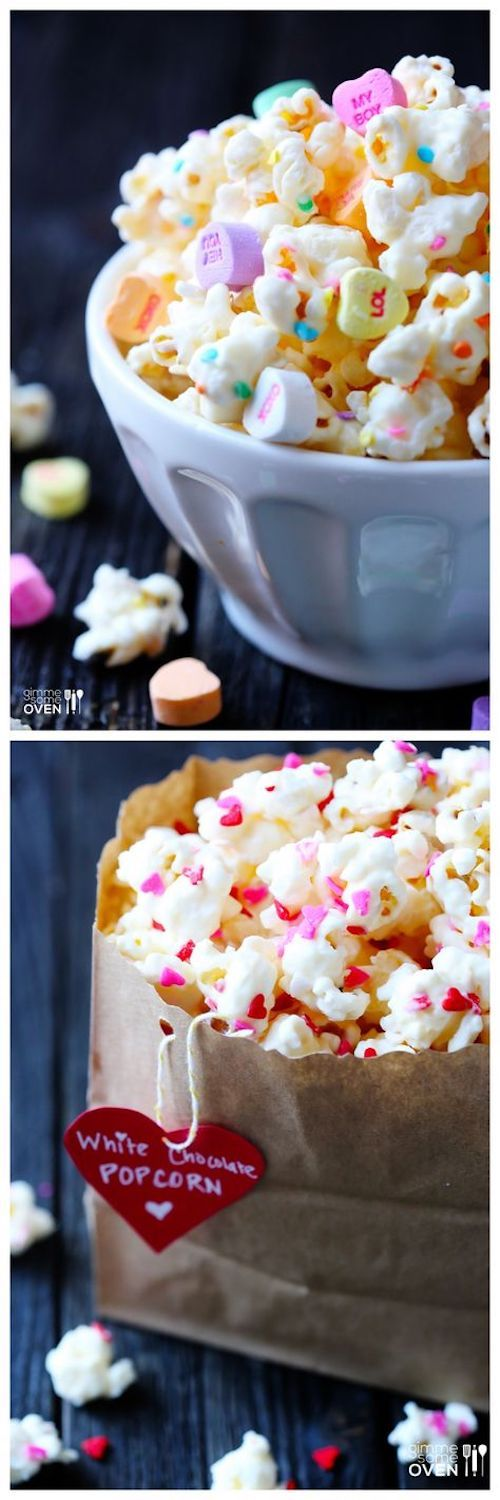 """You will """"love"""" simple white chocolate popcorn recipe for Valentine's Day! Easy White Chocolate Valentine's Popcorn -- a delicious, simple and affordable treat for Valentines day!"""