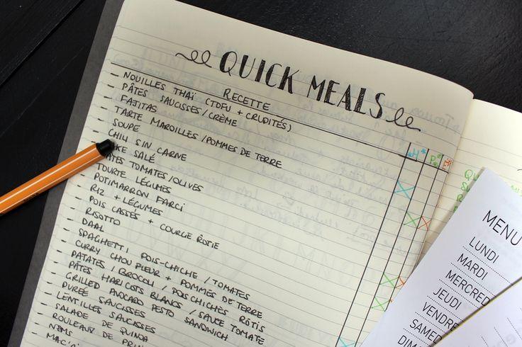 Bullet Journal pour s'aider dans la préparation des menus de la semaine