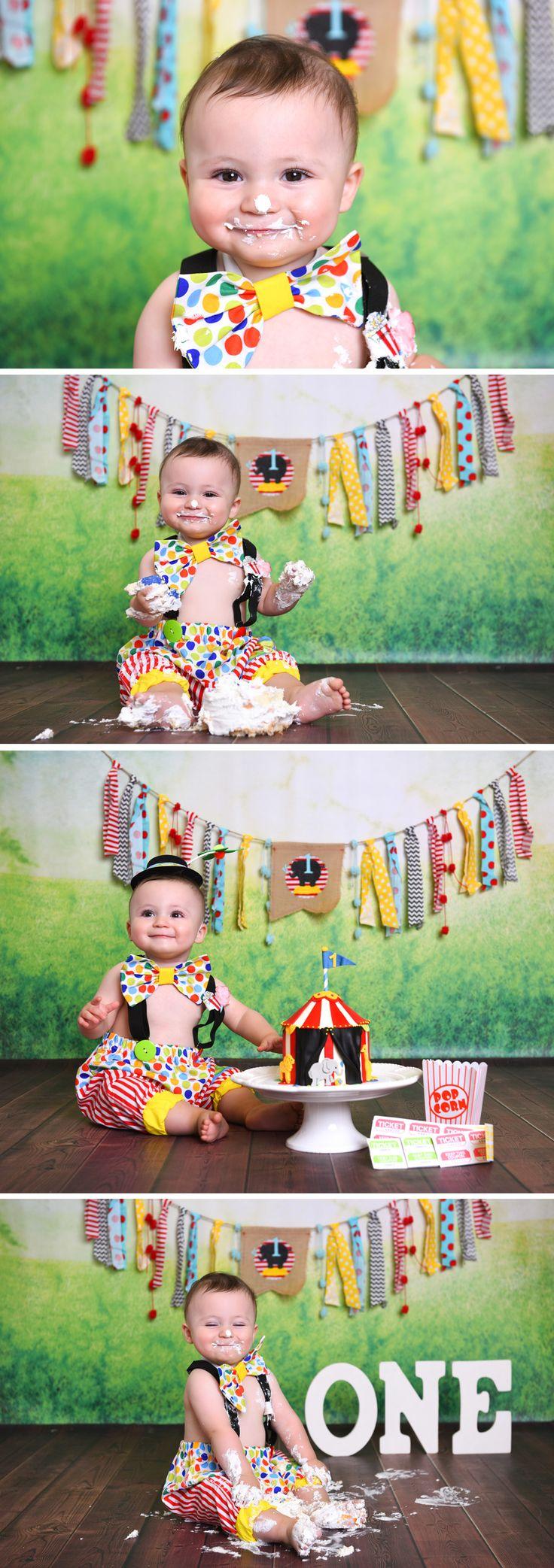 circus theme cake smash baby boy