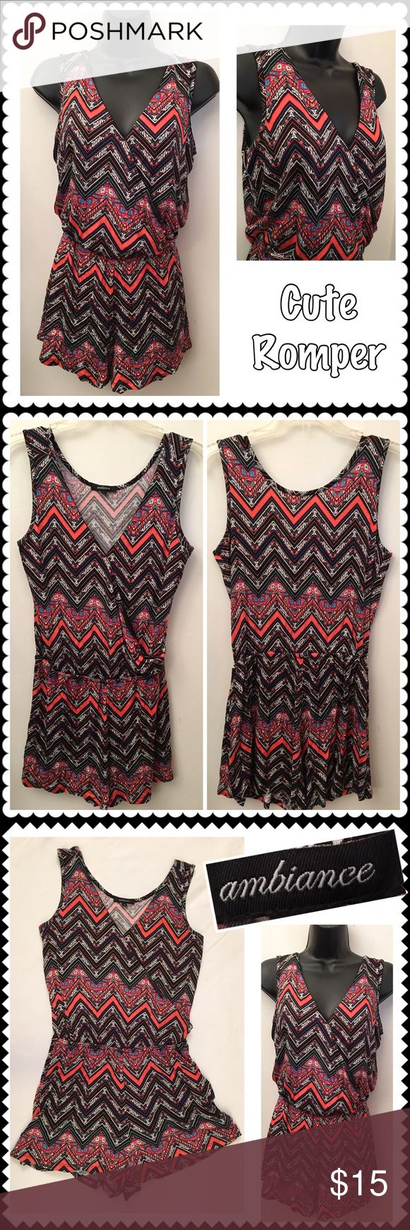 NEW Soft knit romper by Ambiance Sz Small Brand-new soft knit romper by ambiance. Black, coral and white zigzag print. Elastic waist. Wrap style V neckline. Sleeveless. Super cute! Sz Small Ambiance Apparel Shorts