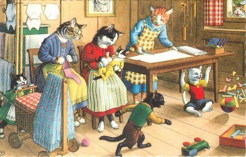 Knitting Class Zürich : Mainzer hartung postcard dressed cats mothers knit sew