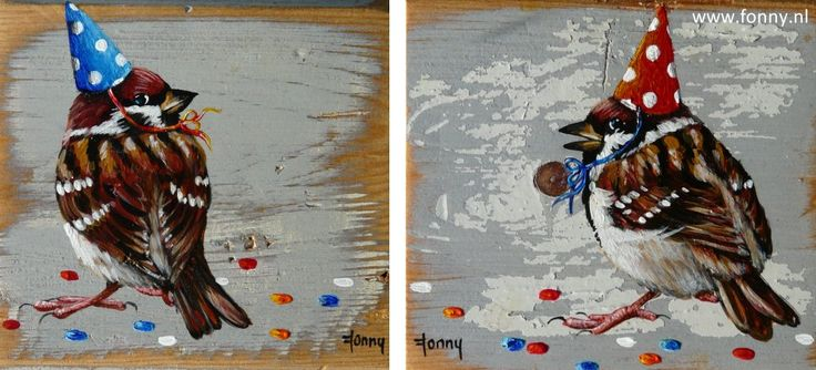Feestmu(t)s / Party hat 1 & 2 - à 10 x 10 cm | vogel | oud hout | schilderij | dieren | bird | old wood | painting | animals |