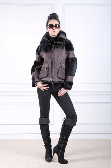 Guy Laroche Shearling Fur Trimmed Jacket