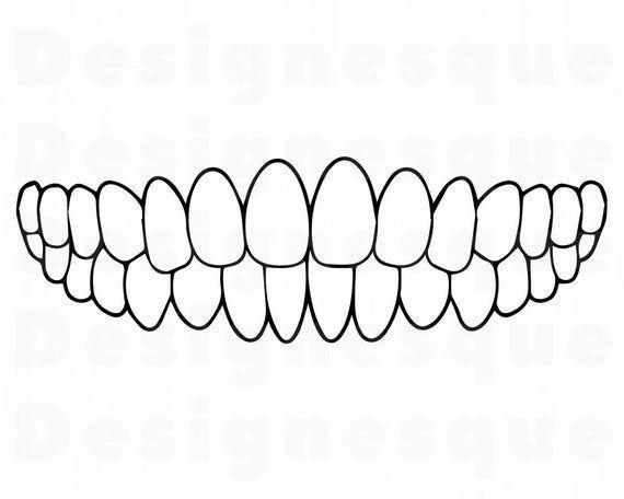 Teeth Outline Svg Teeth Svg Tooth Svg Dentist Svg Teeth Etsy In 2021 Tooth Outline Teeth Clipart Svg