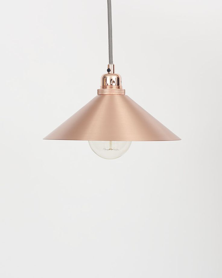 Geometric shade cone shade with atelier clear globe bulb small copper design