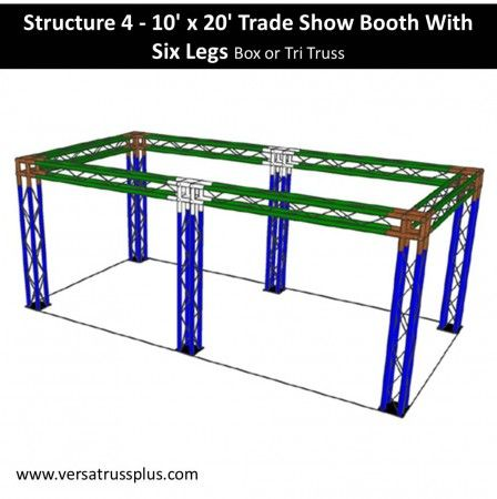 10 x 20 six leg trade show booth kits. Our 10 x 20 six leg exhibit kit comes with all of the truss components and hardware to erect a complete 10 x 20 six leg display booth. Our lightweight aluminum truss 10 x 20 six leg booth kit is economical to purchase, designed for longevity and is completely modular in design allowing you to increase the size of your 10 x 20 six leg exhibit kit at any time.