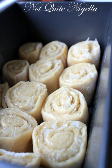 coconut rolls: yeast dough filled with a delicious coconut filling, rolled, sliced & baked.