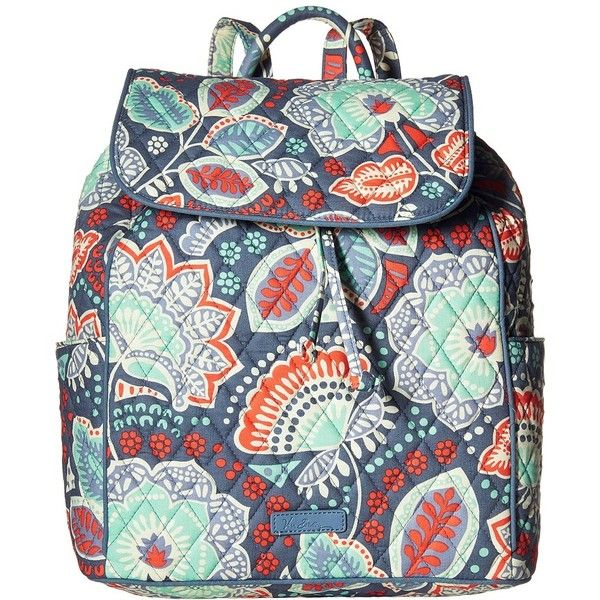 Vera Bradley Drawstring Backpack (Nomadic Floral) Backpack Bags ($98) ❤ liked on Polyvore featuring bags, backpacks, vera bradley, vera bradley backpack, day pack backpack, flat backpack and flower print backpack