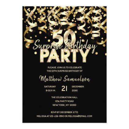 #Custom 50th SURPRISE BIRTHDAY PARTY Gold Black Card - #birthdayinvitation #birthday #party #invitation #cool #invitations