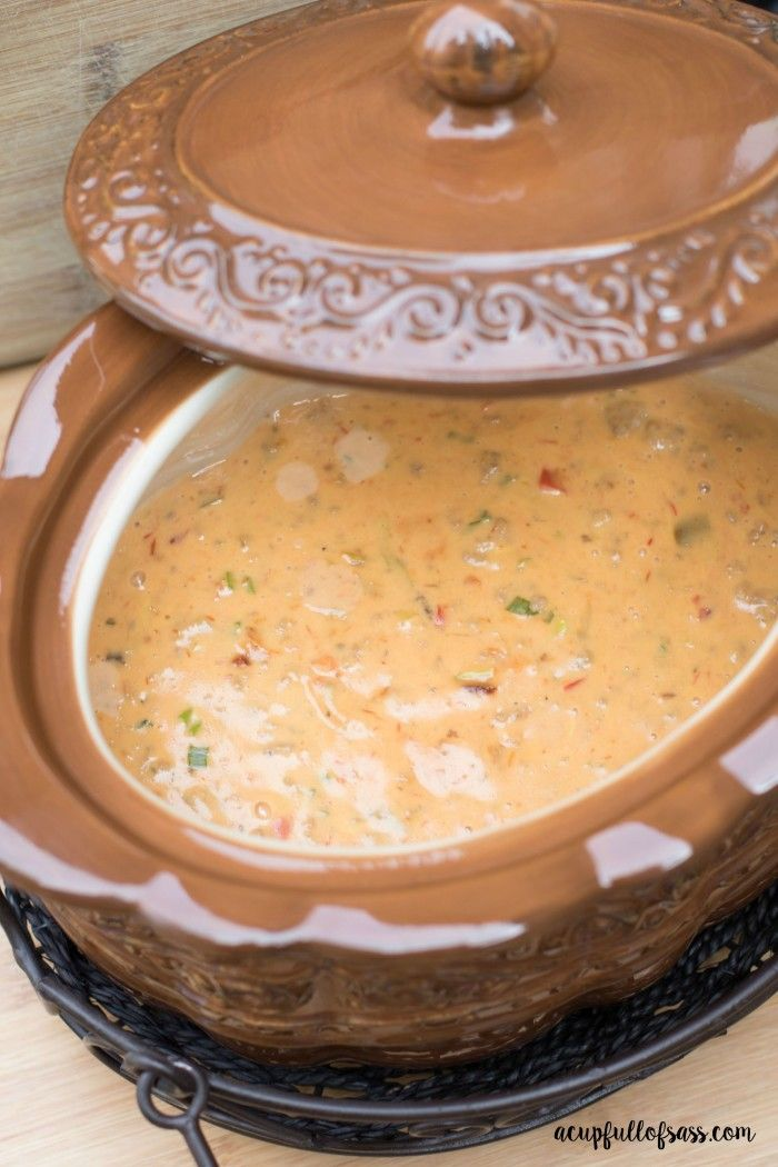 Mom's Nacho Dip. Cook in your crockpot and it makes a ton.