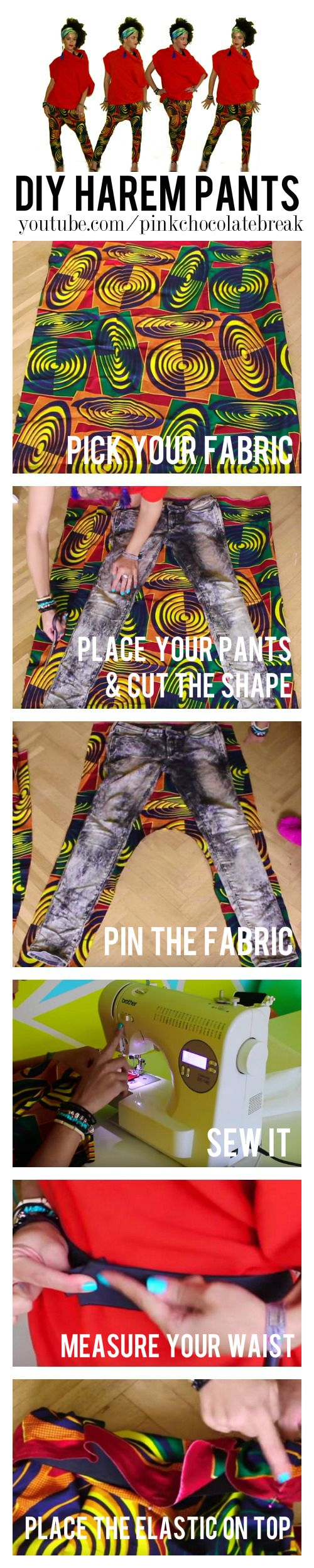 How To Make DIY Harem Pants in 20 min. Quick and easy instructions for this fun, cool style