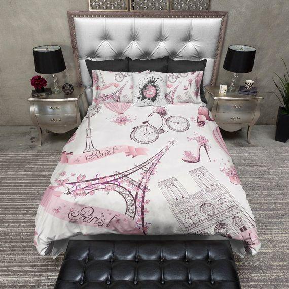 Lightweight Eiffel Towel Paris London Bedding - Paris France Eiffel Tower Comforter Cover - Paris Cover, Paris Bedding Set
