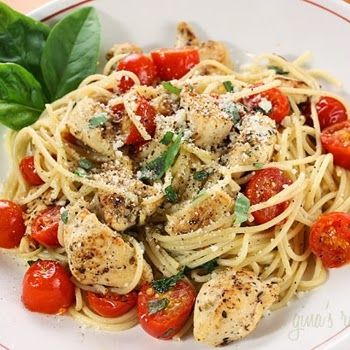 Yummy Recipes: Spaghetti With Sauteed Chicken And Grape Tomatoes recipe