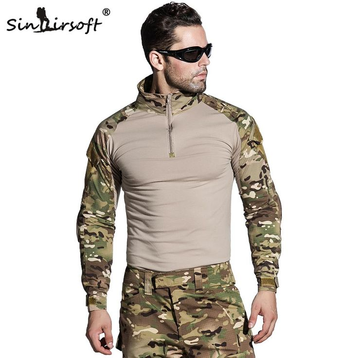[Visit to Buy] SINAIRSOFT Camouflage Military Tactical Uniform US Army Combat Shirt Only Cargo Multicam Airsoft Paintball With Elbow Pads #Advertisement