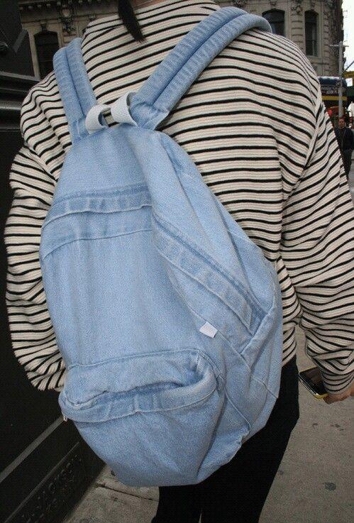 Aesthetic backpack blue grunge jeans pastel soft
