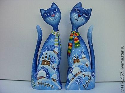 Игрушки животные, ручной работы. Ярмарка Мастеров - ручная работа Кошка и кот 4 . Скульптура, дерево , ручная роспись. Handmade.