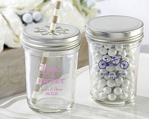 Personalized Printed Glass Mason Jar - Wedding - Mason Jar Favors by Kate Aspen