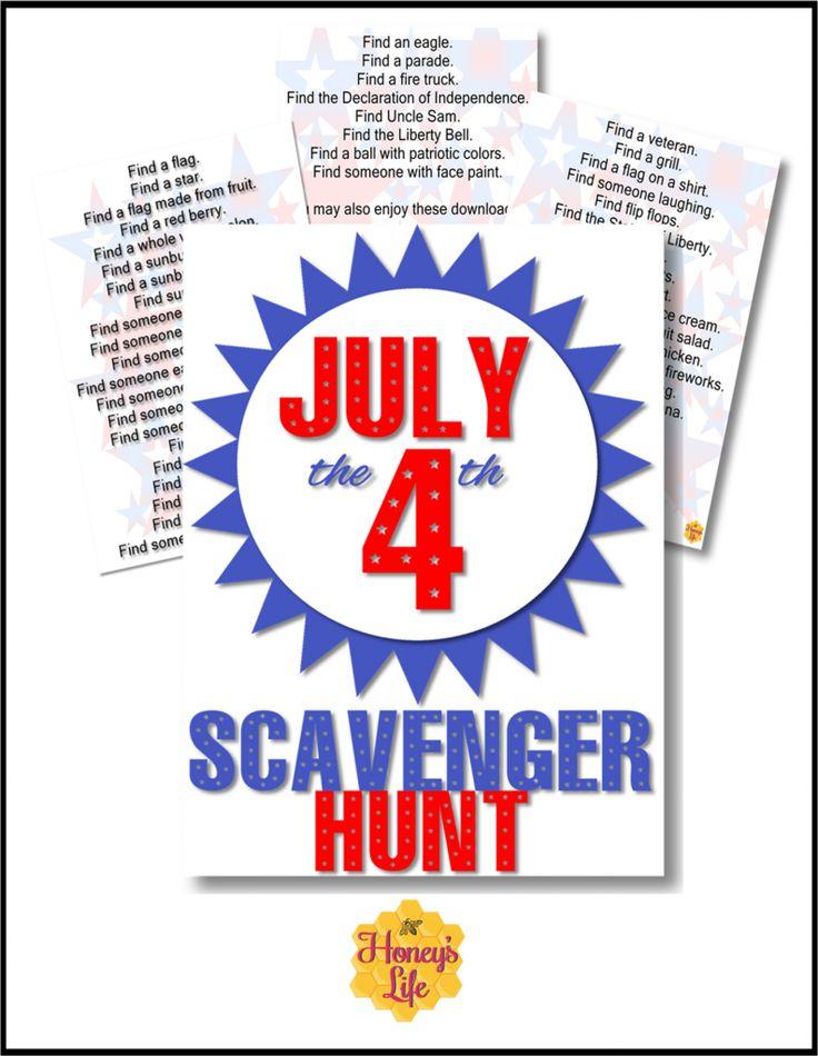 4th of July for Kids Scavenger Hunt List