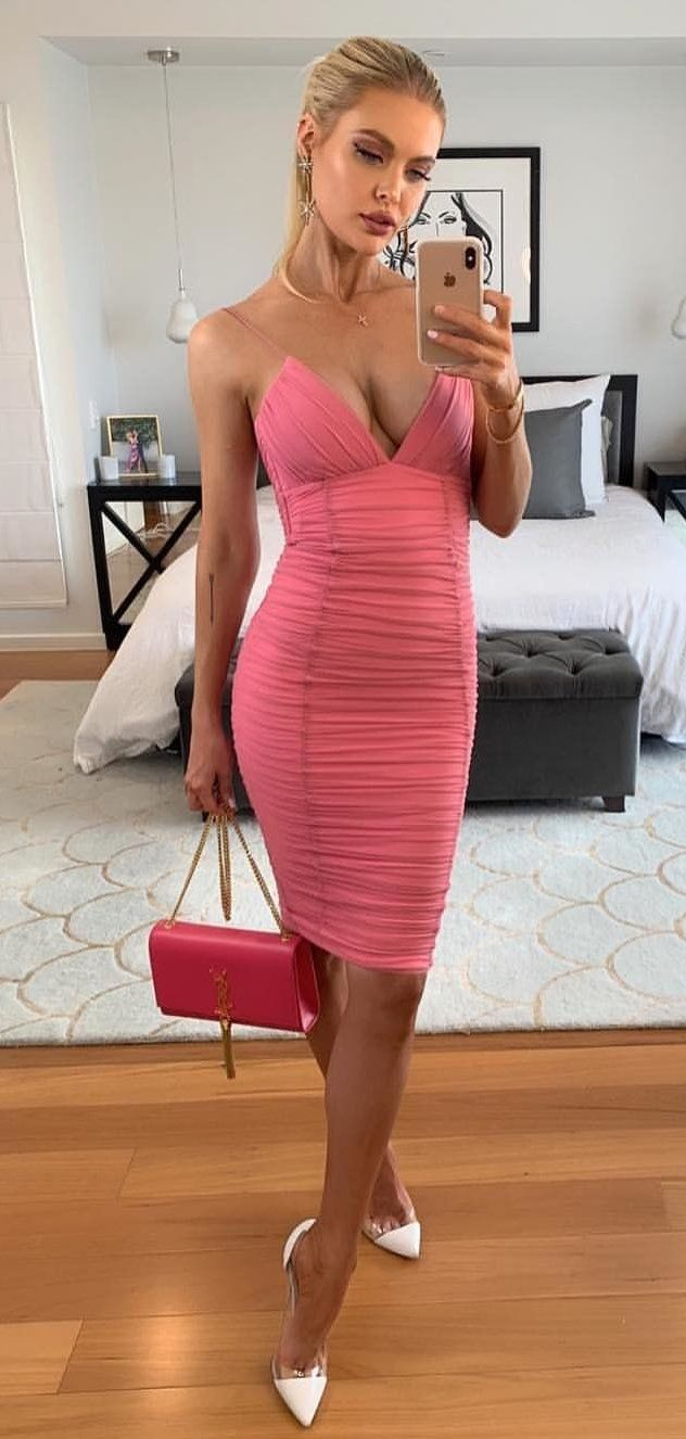 pink sleeveless dress #spring #outfits