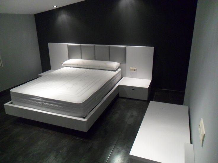 Elegante a la par que sencillo dormitorio con cabecero - Dormitorios con cabeceros tapizados ...
