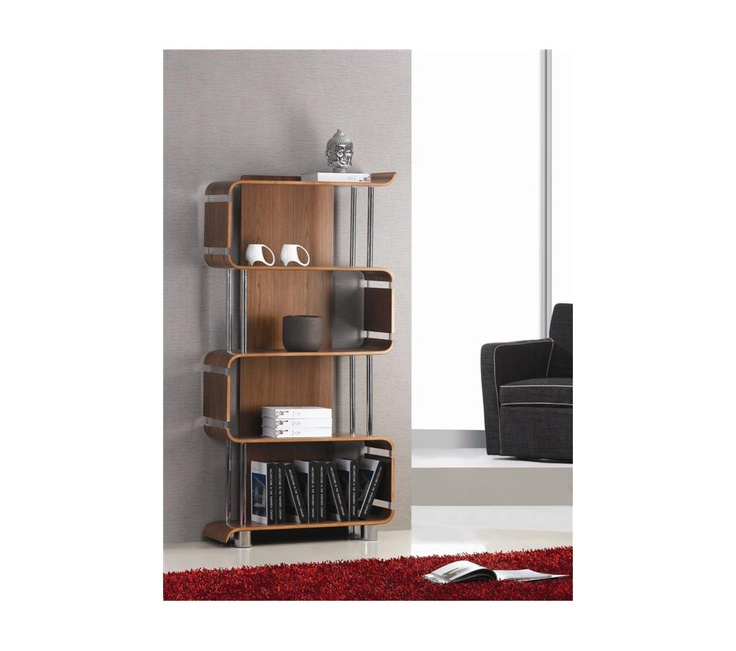 Curve office walnut bookshelf