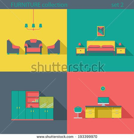 Fresh new design, realy great set #flat #longshadow #vector #interior #icon #iconset