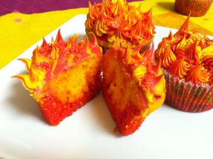 "How to make cupcakes ""on fire"""