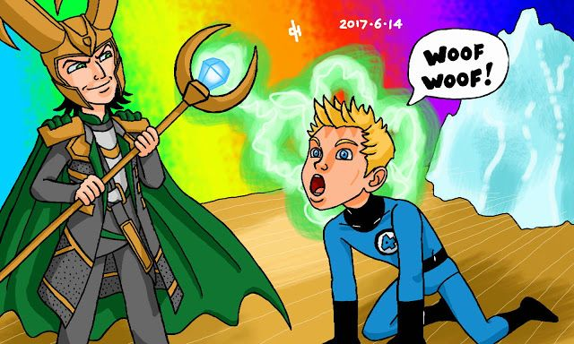 The Icecypher: Marvel Comics: The Human Torch and Loki.