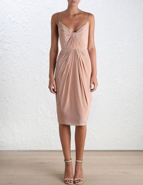 Silk Folded Dress (Short Length) by Zimmermann - colour = Peony