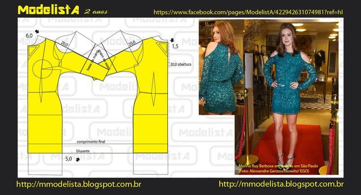 Modelagem de vestido com manga morcego e recorte aberto.