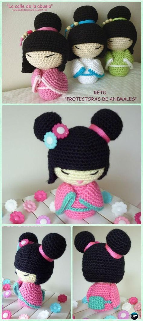 Crochet Amigurumi Japanese Doll Kokeshi Free Pattern - Crochet Doll Toys Free Patterns