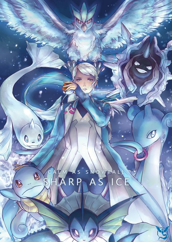 Calm as snowfall, sharp as ice. Team Mystic stands ready to fight! I will be selling this as a print THIS WEEKEND at Animaga 2016 with Valor and Instinct!