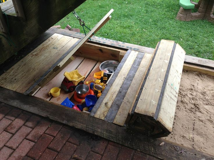 Our Inset Sandbox With Retractable Cover And Built In Toy Box.