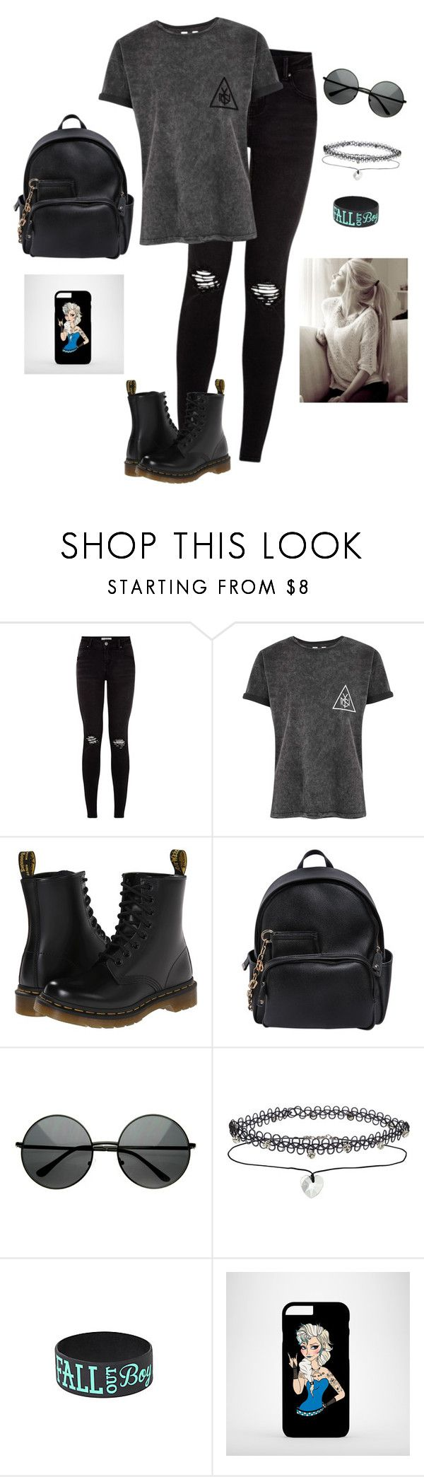 """""""Punk/Rock N' Roll"""" by hanakdudley ❤ liked on Polyvore featuring Dr. Martens, Dsquared2, MLC Eyewear and Miss Selfridge"""