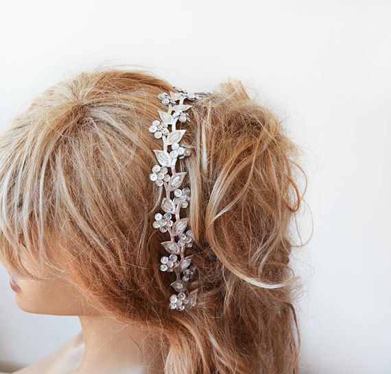 Silver Sparkly Headband Silver Hair Accessories Silver by ADbrdal, $19.00